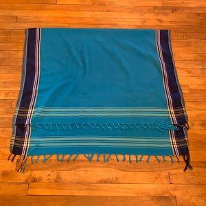 2/$25 - Blue Fringe Cotton Shawl/Scarf